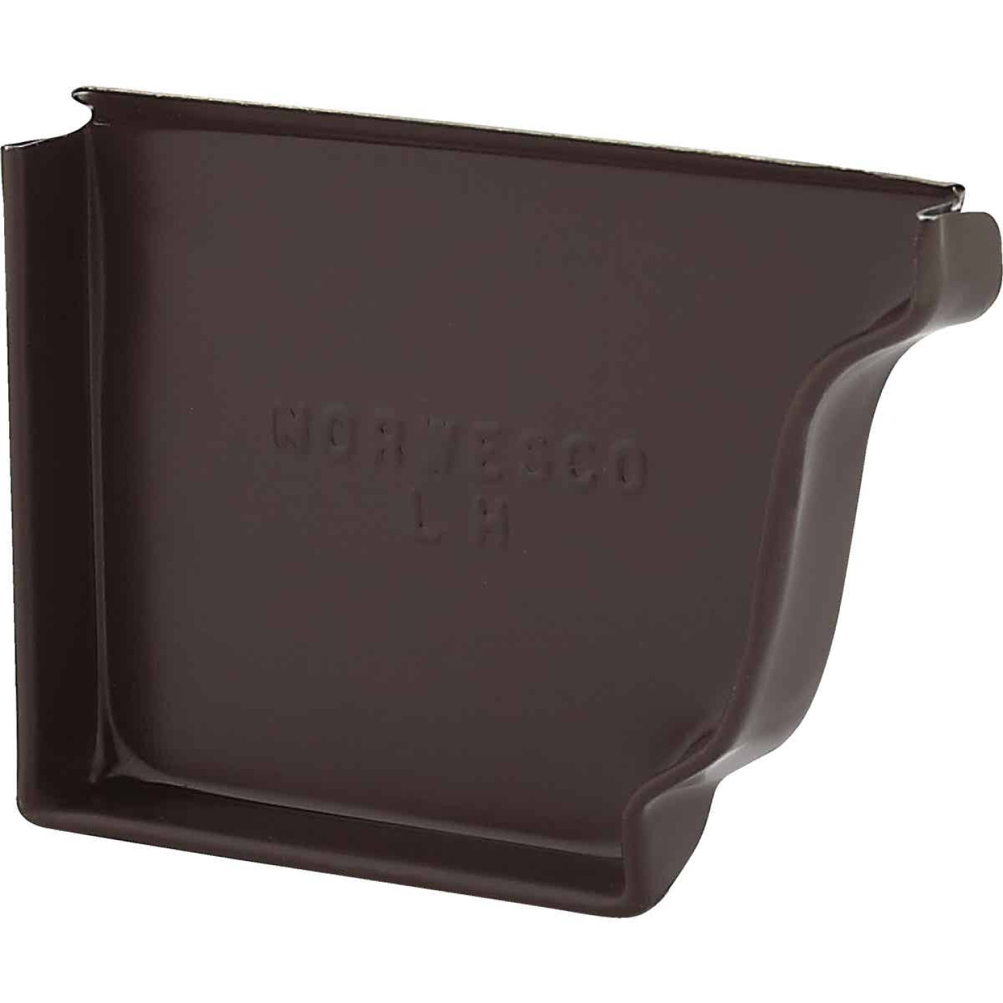 NorWesco 4 In. Galvanized Brown Left Gutter End Cap Image 1