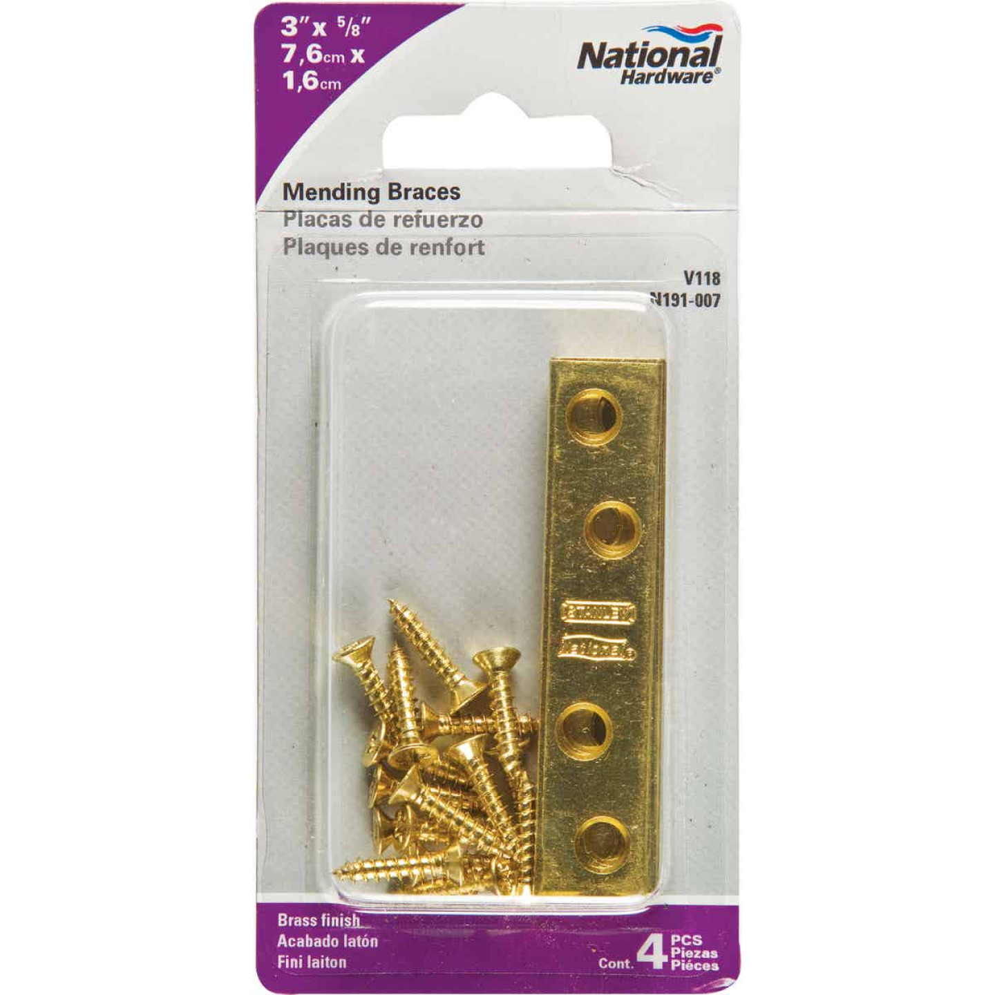 National Catalog 118 3 In. x 5/8 In. Brass Steel Mending Brace (4-Count) Image 2