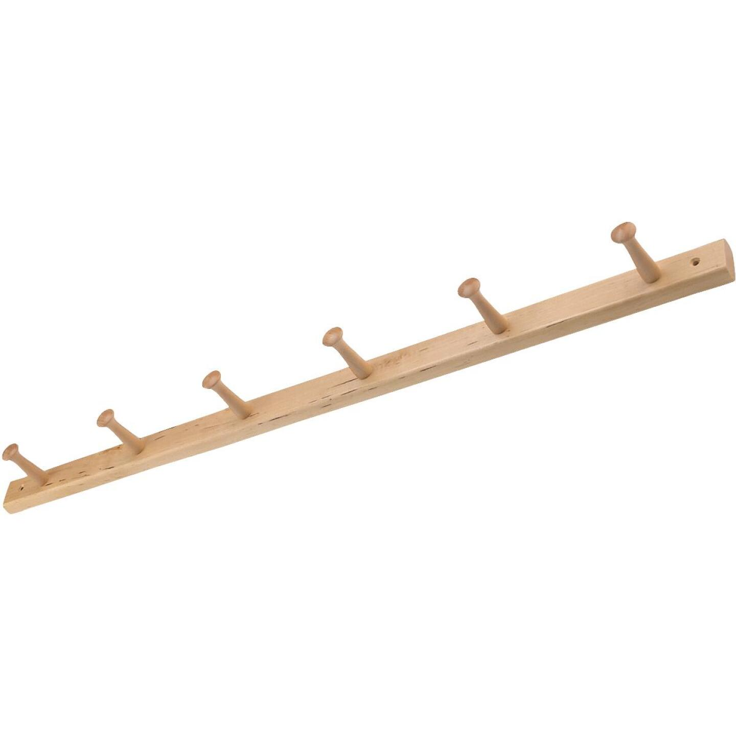 Interdesign Natural Wood 6-Peg Rack Image 1