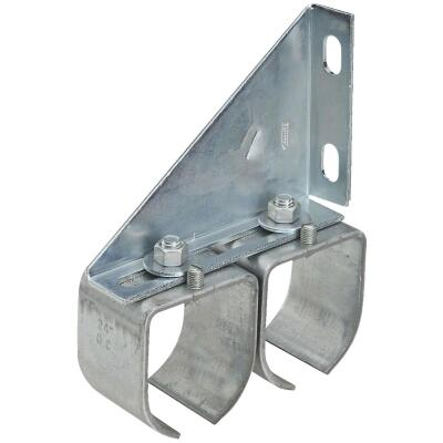 National Galvanized Double Splice Round Rail Barn Door Bracket